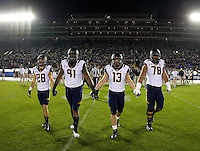 California captains' Jackson Bouza, Deandre Coleman, Kyle Kragen and Freddie Tagaloa walk on the field for coin toss before the game against UCLA at Rose Bowl in Pasadena, California on October 12th, 2013.   UCLA defeated California, 37-10.