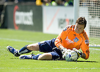 April 11, 2009:  Joe Cannon of Earthquakes makes the save against the Fire at Buck Shaw Stadium in Santa Clara, California. San Jose Earthquakes and Chicago Fire tied, 3-3