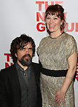 "Peter Dinklage and Erica Schmidt, pregnant, attend the Opening Night of The New Group World Premiere of ""All The Fine Boys"" at the The Green Fig Urban Eatery on March 1, 2017 in New York City."