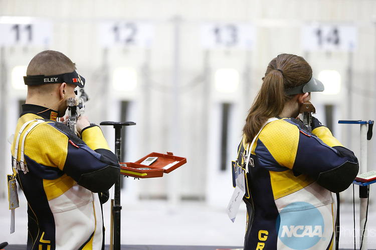 COLUMBUS, OH - MARCH 11: West Virginia University student-athletes compete during the Division I Rifle Championships held at The French Field House on the Ohio State University campus on March 11, 2017 in Columbus, Ohio. (Photo by Jay LaPrete/NCAA Photos via Getty Images)