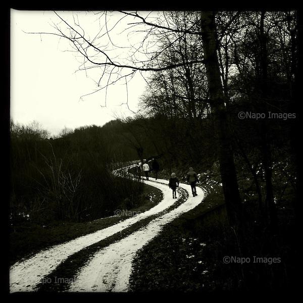 POLAND JANUARY 2015:<br /> Village dirt road in winter in Carpathian mountains in southern Poland.<br /> Photo by Piotr Malecki / Napo Images<br /> <br /> KARPATY, OKOLICE BOCHNI, 1/2015<br /> Wiejska droga zima w gorach, Pokarpacie.<br /> Fot: Piotr Malecki / Napo Images