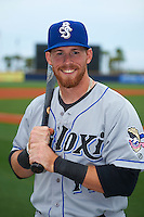 Biloxi Shuckers outfielder Michael Reed (17) poses for a photo before the second game of a double header against the Pensacola Blue Wahoos on April 26, 2015 at Pensacola Bayfront Stadium in Pensacola, Florida.  Pensacola defeated Biloxi 2-1.  (Mike Janes/Four Seam Images)