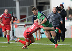 Connacht's Matt Healy is tackled by Scarlets' Jordan Williams<br /> <br /> Rugby - Scarlets V Connacht - Guinness Pro12 - Sunday 15th Febuary 2015 - Parc-y-Scarlets - Llanelli<br /> <br /> &copy; www.sportingwales.com- PLEASE CREDIT IAN COOK