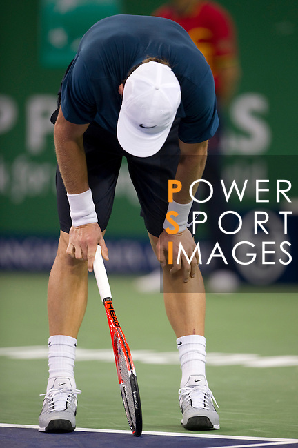 SHANGHAI, CHINA - OCTOBER 12:  Tomas Berdych of Czech Republic reacts after loosing a point against Tommy Robredo of Spain during day two of the 2010 Shanghai Rolex Masters at the Shanghai Qi Zhong Tennis Center on October 12, 2010 in Shanghai, China.  (Photo by Victor Fraile/The Power of Sport Images) *** Local Caption *** Tomas Berdych