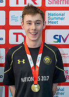 Picture by Allan McKenzie/SWpix.com - 05/08/2017 - Swimming - Swim England National Summer Meet 2017 - Ponds Forge International Sports Centre, Sheffield, England - Joseph Moore takes gold in the mens 16yrs 50m breaststroke.