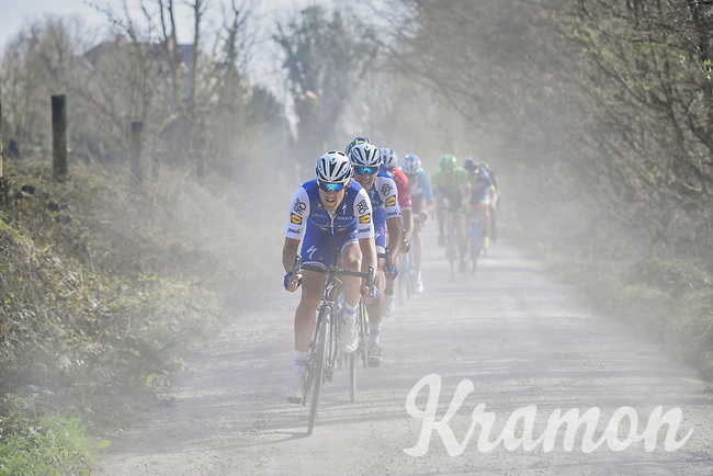 Matteo Trentin (ITA/QuickStep Floors) racing over the 'Plugstreets' gravel roads<br /> <br /> 79th Gent-Wevelgem 2017 (1.UWT)<br /> 1day race: Deinze &rsaquo; Wevelgem - BEL (249km)