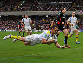 8.4.2012. Watford, England -  Lee Byrne of ASM Clermont Auvergne dives over the line of a try during the Heineken Cup quarter final match between Saracens and ASM Clermont Auvergne at Vicarage Road Stadium on April 8, 2012 in Watford, England.