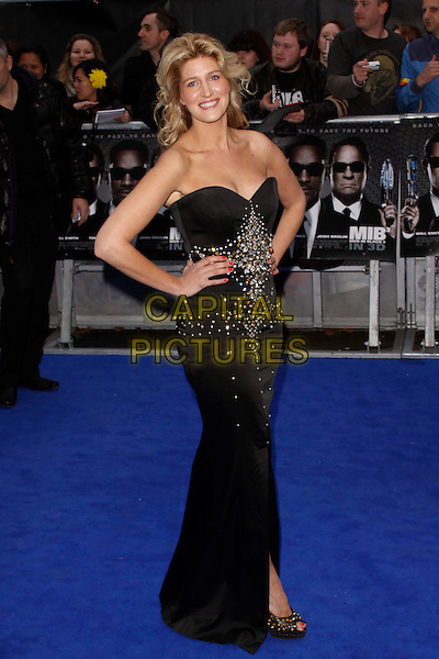 Francesca 'Cheska' Hull.The 'Men in Black 3' UK film premiere, Odeon Leicester Square cinema, Leicester Square, London, England..May 16th, 2012.MIB3 III full length black strapless dress embellished jewel encrusted hands on hips.CAP/AH.©Adam Houghton/Capital Pictures.