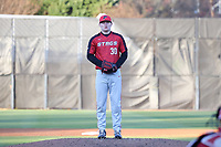GREENSBORO, NC - FEBRUARY 25: Jack Erbeck #30 of Fairfield University stands on the mound during a game between Fairfield and UNC Greensboro at UNCG Baseball Stadium on February 25, 2020 in Greensboro, North Carolina.