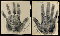 BNPS.co.uk (01202) 558833.Picture: collect..The handprint of Fritz Lang, film director..An incredible collection of signed handprints of famous names from 1920s Germany including Albert Einstein and Marlene Deitrich has come to light. Prints of composers Richard Strauss and Igor Stravinsky, filmmaker Fritz Lang, painter Max Liebermann, playwright Bertolt Brecht and gay rights pioneer Magnus Hirschfeld also feature in the fascinating set by German palmist Marianne Raschig. ..She spent 60 years taking more than 2,000 handprints of around 1,000 leading artists, actors, scientists, musicians and writers in Berlin. Raschig collected the handprints between the 1870s and 1930s for a study into what the lines and shapes of hands could reveal about a person's character. Her collection is now set to sell for more than £90,000 at auction.