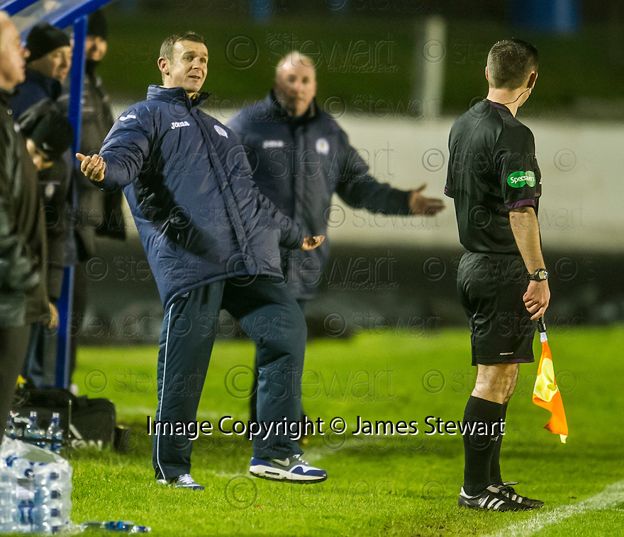 Queen of the South manager Jim McIntyre questions a desicion.