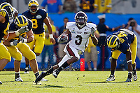 January 01, 2011:    Mississippi State Bulldogs wide receiver Brandon Heavens (3) runs for yardage during first half action during the Progressive Gator Bowl action between the Mississippi State Bulldogs and the Michigan Wolverines at EverBank Field in Jacksonville, Florida.