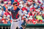 30 July 2017: Washington Nationals catcher Jose Lobaton checks the runner at third, then gets the out at first in the 4th inning against the Colorado Rockies at Nationals Park in Washington, DC. The Rockies defeated the Nationals 10-6 in the second game of their 3-game weekend series. Mandatory Credit: Ed Wolfstein Photo *** RAW (NEF) Image File Available ***