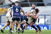 Tom Hicks of Doncaster Knights is tackled by Joe Buckle of Yorkshire Carnegie. Greene King IPA Championship match, between Yorkshire Carnegie and Doncaster Knights on September 17, 2017 at Headingley Stadium in Leeds, England. Photo by: Patrick Khachfe / Onside Images