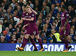 Kevin De Bruyne of Manchester City celebrates scoring his goal to make it 1-0 with team mate John Stones of Manchester City during the premier league match at the Stamford Bridge stadium, London. Picture date 30th September 2017. Picture credit should read: Robin Parker/Sportimage