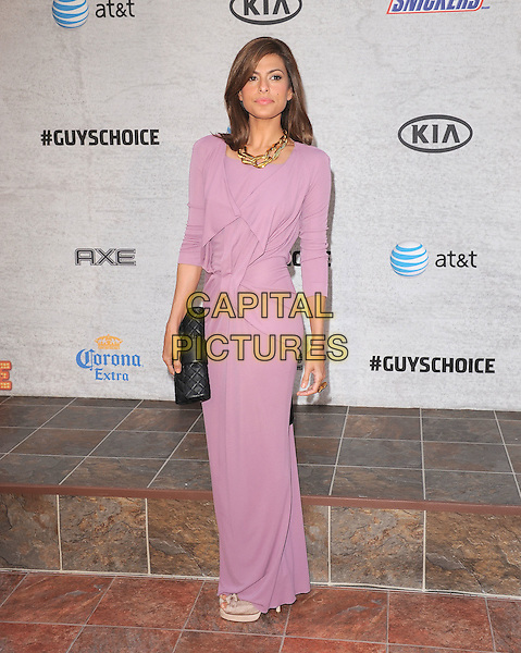 Eva Mendes.at The Spike TV's Guys Choice Awards held at Sony Picture Studios in Culver City, California, USA, June 4th 2011..full length pink lilac long sleeve dress black clutch bag     maxi.CAP/RKE/DVS.©DVS/RockinExposures/Capital Pictures.