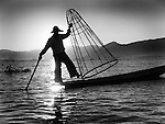 Leg rowing fisherman with net, Lake Inle, NE Burma