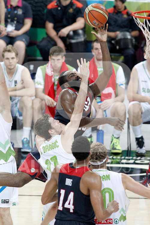 Slovenia's Goran Dragic (l) and USA's James Harden during 2014 FIBA Basketball World Cup Quarter-Finals match.September 9,2014.(ALTERPHOTOS/Acero)