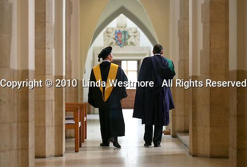 Dignitaries prepare for the Graduation Ceremony, University of Surrey.