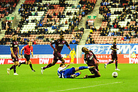 Martin Olsson of Swansea City is fouled by Lee Evans of Wigan Athletic during the Sky Bet Championship match between Wigan Athletic and Swansea City at the DW Stadium in Wigan, England, UK. Friday 02 October 2018