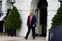 United States President Donald J. Trump walks out from the White House in Washington before his departure to Tampa, Florida on July  31, 2020. <br /> Credit: Yuri Gripas / Pool via CNP /MediaPunch