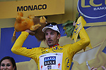 Swiss National Champion Fabian Cancellara (SUI) Team Saxo Bank wins the Prologue Stage 1 and wears the first Yellow Jersey of the 2009 Tour de France a 15.5km individual time trial held around Monaco. 4th July 2009 (Photo by Eoin Clarke/NEWSFILE)