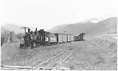 3/4 view of D&amp;RGW C-19 #340 hauling 2 box cars and 2 gondolas with caboose at Ridgway.<br /> RGS  Ridgway, CO  Taken by Maxwell, John W. - 5/26/1949