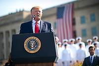 United States President Donald J. Trump delivers remarks at a ceremony at the Pentagon during the 18th anniversary commemoration of the September 11 terrorist attacks, in Arlington, Virginia on Wednesday, September 11, 2019.<br /> Credit: Kevin Dietsch / Pool via CNP /MediaPunch