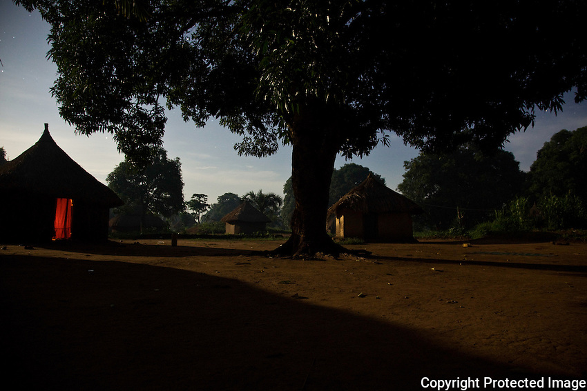Houses in  Yambio south sudan  at night. LRA attacks along the border belt  area of Congo and Sudan have displaced tens of thousands of people from homes like these.