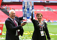 Tranmere Rovers FC Owner, Mark Palios and his wife, Nicola, celebrate their victory and promotion to Division One as they hold the Trophy aloft during Newport County vs Tranmere Rovers, Sky Bet EFL League 2 Play-Off Final Football at Wembley Stadium on 25th May 2019