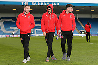 Fleetwood Town players inspect the pitch and ground ahead of the Sky Bet League 1 match between Gillingham and Fleetwood Town at the MEMS Priestfield Stadium, Gillingham, England on 27 January 2018. Photo by David Horn.