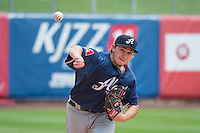 A.J. Schugel (29) of the Reno Aces before the game against the Salt Lake Bees in Pacific Coast League action at Smith's Ballpark on May 10, 2015 in Salt Lake City, Utah. Salt Lake defeated Reno 9-2 in Game One of the double-header.  (Stephen Smith/Four Seam Images)