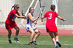 Torrance, CA 05/11/13 - Talia Fiance (Agoura #7), Jenny Lange (Los Alamitos #3) and Haley Fessenden (Los Alamitos #23) during the 2013 Los Angeles/Orange County Championship game between Los Alamitos and Agoura.  Los Alamitos defeated Agoura 19-4.