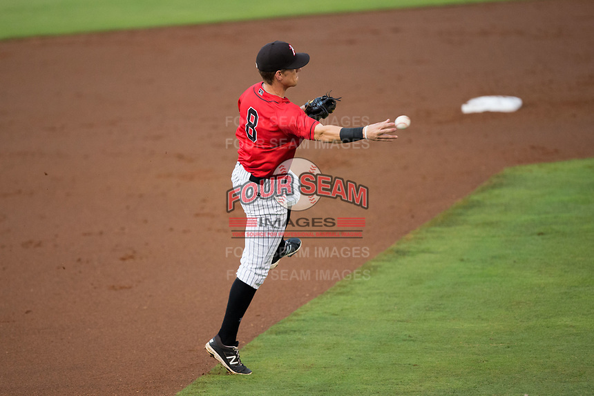 Kannapolis Intimidators third baseman Zach Remillard (8) makes a throw to first base against the West Virginia Power at Kannapolis Intimidators Stadium on June 17, 2017 in Kannapolis, North Carolina.  The Power defeated the Intimidators 6-1.  (Brian Westerholt/Four Seam Images)