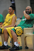 Hutt Valley's Izayah Le'afa )left) and his dad George joke during the National Basketball Championships tournament match between Hutt Valley and Waitakere B at Te Rauparaha Arena, Wellington, New Zealand on Friday, 14 November 2014. Photo: Dave Lintott / lintottphoto.co.nz