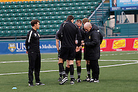 Rochester, NY - Friday April 29, 2016: Western New York Flash head coach Paul Riley talks with the officials prior to the start of the match. The Washington Spirit defeated the Western New York Flash 3-0 during a National Women's Soccer League (NWSL) match at Sahlen's Stadium.