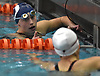 Catherine Stanford of Oceanside, gets congratulated by Katherine Hong of Herricks after winning the 100-yard freestyle event during the Nassau County girls swimming championships and state qualifier meet at Nassau Aquatic Center in East Meadow on Saturday, Nov. 3, 2018. Stanford posted a time of 50.96.