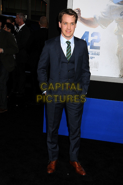 "T.R. Knight, TR Knight.""42"" Los Angeles Premiere held at the TCL Chinese Theatre, Hollywood, California, USA..April 9th, 2013.full length suit waistcoat brown shoes blue green tie shirt .CAP/ADM/BP.©Byron Purvis/AdMedia/Capital Pictures."