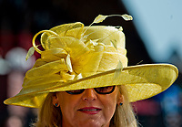 SARATOGA SPRINGS, NY - AUGUST 26: A woman wears a fashionable hat on Travers Stakes Day on August 26, 2017 in Saratoga Springs, New York. (Photo by Scott Serio/Eclipse Sportswire/Getty Images)