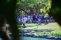 Dustin Johnson (USA) hits from the drop area on 11 after driving into the water during round 4 of the World Golf Championships, Dell Technologies Match Play, Austin Country Club, Austin, Texas, USA. 3/25/2017.<br /> Picture: Golffile | Ken Murray<br /> <br /> <br /> All photo usage must carry mandatory copyright credit (&copy; Golffile | Ken Murray)