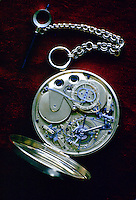 Inside workings of a Daniel's handmade pocket watch, United Kingdom