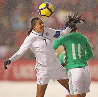 USA's Shannon Boxx (L) heads the ball over Mexico's Nayeli Rangel (R) at Rio Tinto Stadium March 31, 2010 in Salt Lake City, Utah. The USA women won the match over Mexico 1-0.