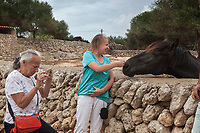 Spain. Balearic Islands. Minorca (Menorca). Germans tourists at Son Martorellet. Son Martorellet is a place where the Pure Breed Minorcan horses are breed and trained. The Menorquín is a breed of horse indigenous to the island and is closely associated with the doma menorquina style of riding. The most valued quality of Menorquín horse is its suitability for the traditional festivals of Menorca. Son Martorellet is located in the centre of the island, which is part of the autonomous community of the Balearic. In Spain, an autonomous community is a first-level political and administrative division, created in accordance with the Spanish constitution of 1978, with the aim of guaranteeing limited autonomy of the nationalities and regions that make up Spain. 11.09.2019 © 2019 Didier Ruef