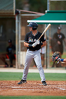 GCL Marlins left fielder Michael Donadio (24) at bat during a game against the GCL Astros on July 22, 2017 at Roger Dean Stadium Complex in Jupiter, Florida.  GCL Astros defeated the GCL Marlins 5-1, the game was called in the seventh inning due to rain.  (Mike Janes/Four Seam Images)