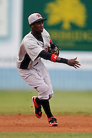 Hickory Crawdads Jurickson Profar #10 throws the ball to second to start a double play during a  game against the Asheville Tourists at McCormick Field in Asheville,  North Carolina;  June 12, 2011.  The Crawdads won the game 12-3.  Photo By Tony Farlow/Four Seam Images