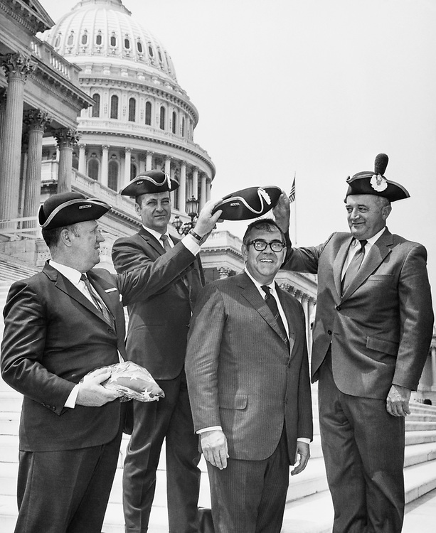 Rep F. Bradford, R-Mass. wearing a boat hat at Capitol Hill in 1971. (Photo by CQ Roll Call)