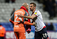 Bolton Wanderers' Gary O'Neil shakes hands with Middlesbrough's goalkeeper Darren Randolph at the end of the match<br /> <br /> Photographer Andrew Kearns/CameraSport<br /> <br /> The EFL Sky Bet Championship - Bolton Wanderers v Middlesbrough -Tuesday 9th April 2019 - University of Bolton Stadium - Bolton<br /> <br /> World Copyright © 2019 CameraSport. All rights reserved. 43 Linden Ave. Countesthorpe. Leicester. England. LE8 5PG - Tel: +44 (0) 116 277 4147 - admin@camerasport.com - www.camerasport.com