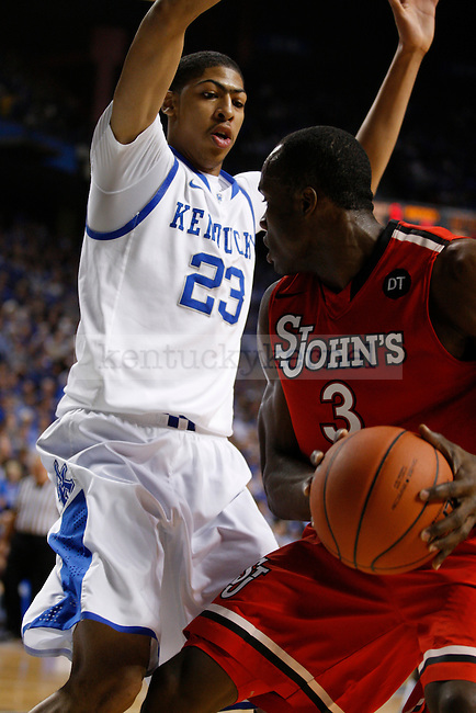 Anthony Davis guards God'sgift Achiuwa in the first half of the game against  St. Johns University at Rupp Arena, in Lexington, Ky., on Thursday, Dec. 1, 2011. Photo by Latara Appleby | Staff ..