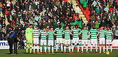 4th November 2017, McDiarmid Park, Perth, Scotland; Scottish Premiership football, St Johnstone versus Celtic; Celtic players during minutes silence