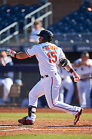 Peoria Javelinas D.J. Stewart (15), of the Baltimore Orioles organization, during a game against the Mesa Solar Sox on October 19, 2016 at Peoria Stadium in Peoria, Arizona.  Peoria defeated Mesa 2-1.  (Mike Janes/Four Seam Images)